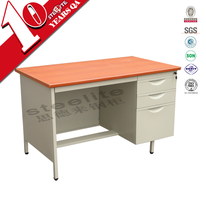 Knocked down steel frame wooden top desktop computer desk / office use cheap table designs