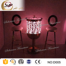 round shape tempered glass top party led light cocktail table