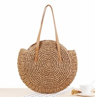 Round Summer Straw Large Woven Bag Purse For Women Vocation Tote Handbags