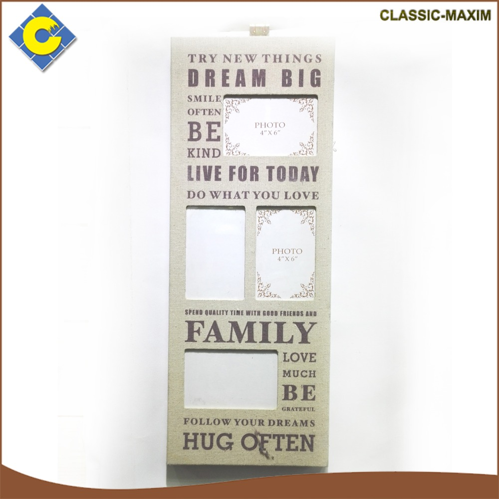 High quality wholesale rectangle wall hanging family picture photo frame