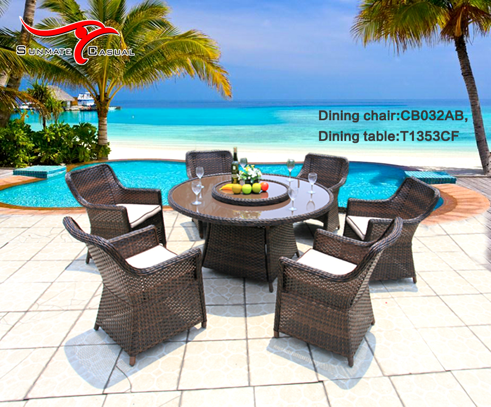 Garden Leisure Furniture Outdoor Rattan Dining Round Table And Chairs