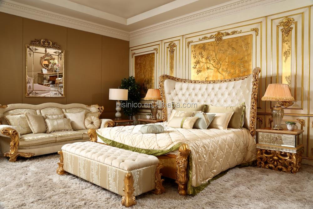 Italian Solid Wood 24K Gold Plated 5PCS Bedroom Set, King Size Upholstery Royal Bed For Luxurious Villa
