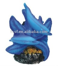Resin 2 Blue dolphins Decoration on the starfish/ having fun/Aquatic Resin Ornament