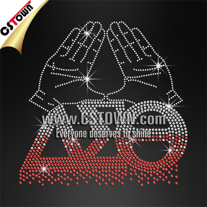 Classic delta sigma theta wholesale rhinestone iron on bling transfers custom