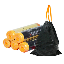 Rolled drawtape kitchen trash bags, drawstring garbage bag wholesale