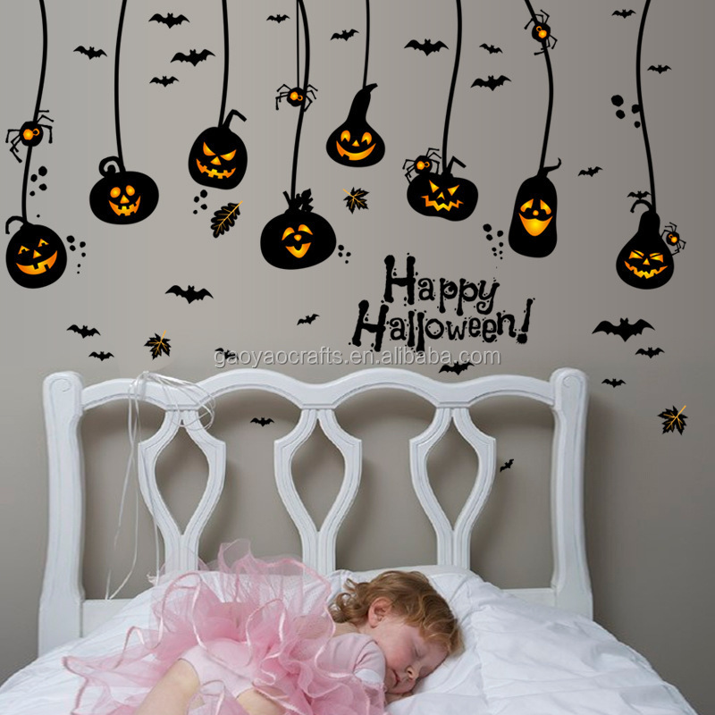Halloween Pumpkin Bat Haunted House Wall Sticker Home Shop Mural Art Vinyl Wallpaper Glass Window Decoration Decals