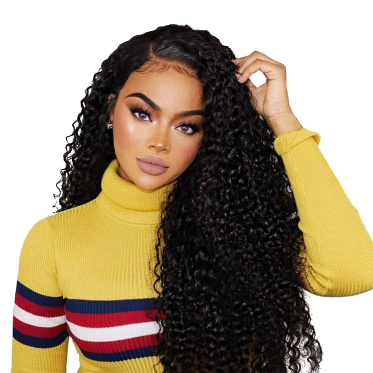 Curly extensions 360 lace frontal Full lace 22 inch asian women human hair closure black long wig