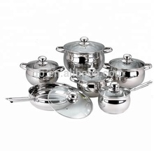 High quality 12pcs stainless steel cookware pot set