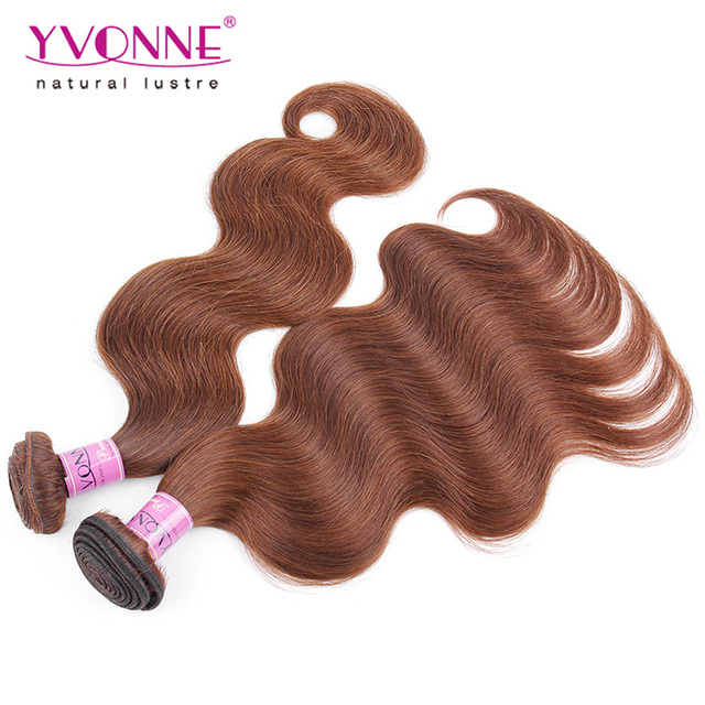 Yvonne light brown peruvian body wave hair weave fast shipping