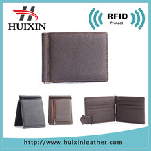 Genuine leather RFID money clip pocket wallet with high quality metal clip