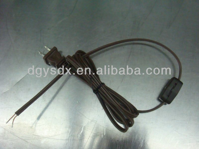 Power cord with switch for desk lamp, UL approval