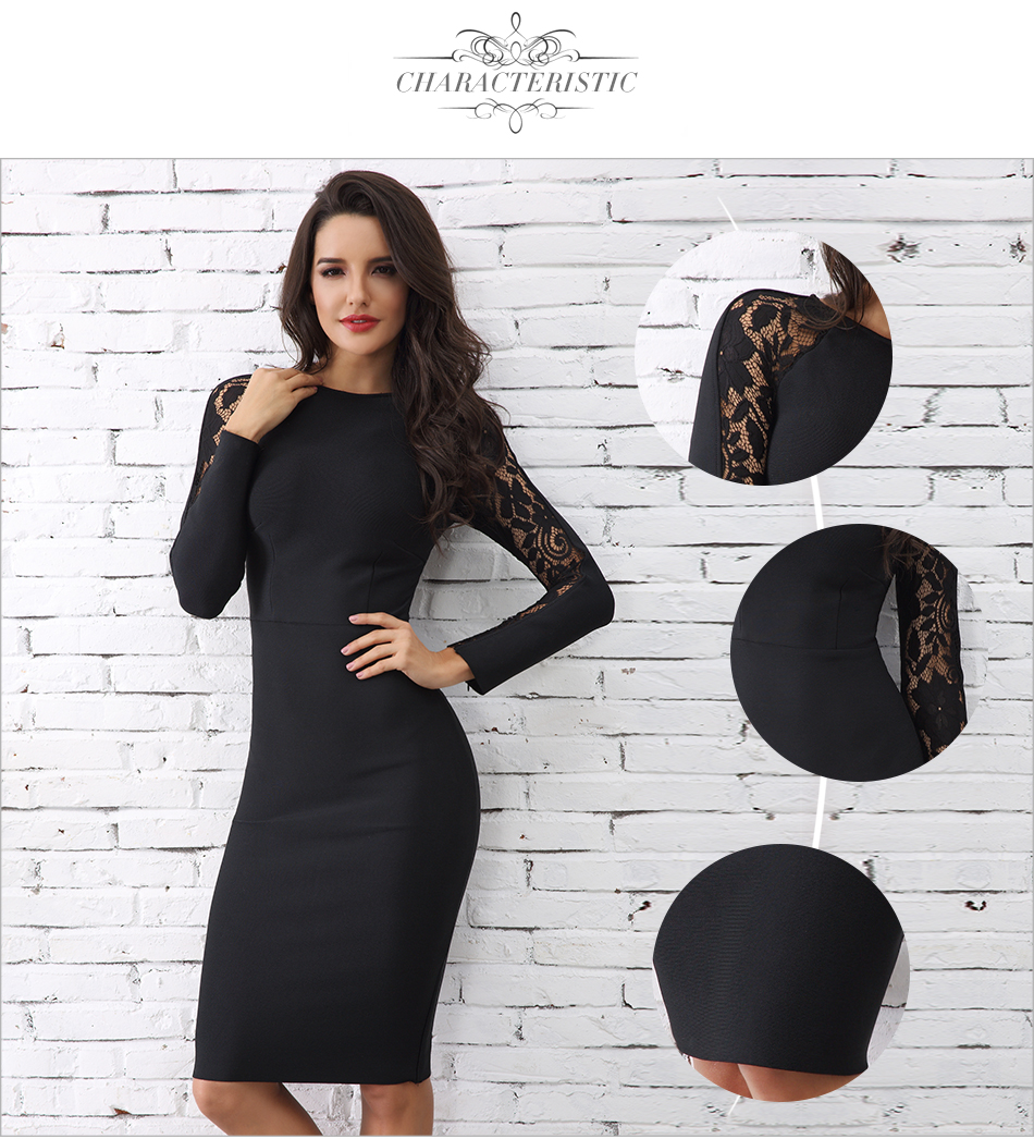 Adyce 19 Winter Elegant Lace Bandage Dress Women Black Floral Long Sleeve Hollow Out Clubwear Sexy Midi Celebrity Party Dress 4
