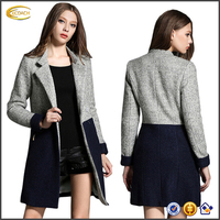 Ecoach New Fashion high quality european and american style Notched Collar long sleeve Color Block wool women Long Winter Coat