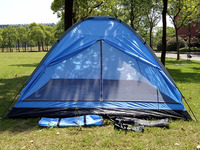Waterproof canvas double layers auto camping tent for 4 persons, aluminum alloy pop up tent