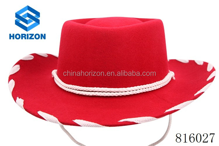 Cowboy hat red color 100 wool high quality western cowboy hat