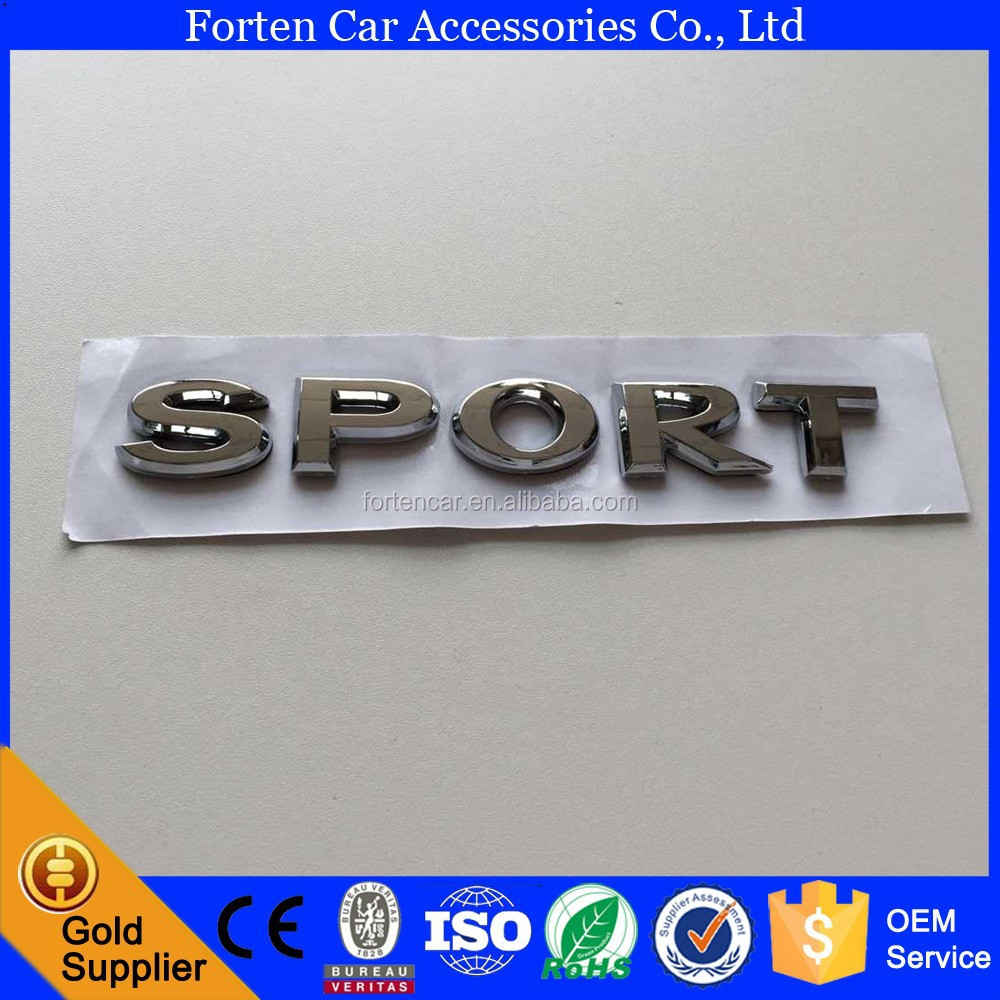 Custom Chrome ABS 3D Sport Logo Parts Badge Car Letter Sticker emblem