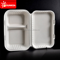 Sugarcane Pulp Bagasse biodegradable rectangular food containers
