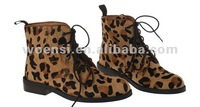 women's leopard lace up ankle flat boot in fake horse hair upper