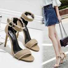 K2584A Fashion Low MOQ Price Latest ladies Glitter High Heel Fancy Sandals designs