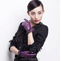 Elegant purple ladies short leather gloves fashion dress gloves w flower decoration