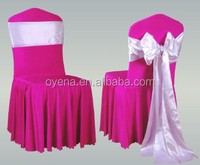 spandex chair cover skriting with satin sash A128