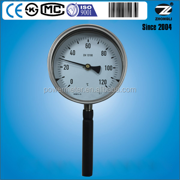 Diameter 160mm 120 degree stainless steel hot water temperature gauge thermometer