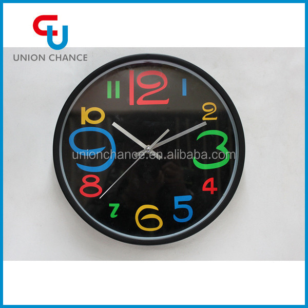 Black and Colorful Numbering Round Fashion Decorative Wall Clock