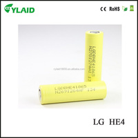 high drain 3.7V 2500mAh lg he4 battery with high quality li ion battery with indivisual package