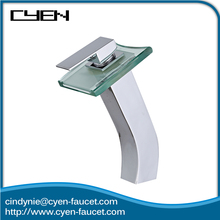 Glass Top Waterfall Brass Body Bathroom Basin LED Water Faucet