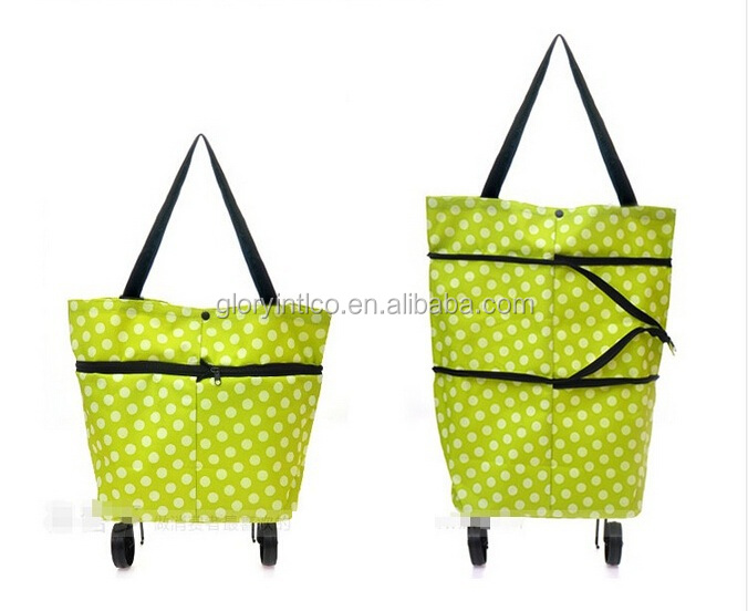 Low price foldable shopping bag with wheel,foldable luggage rolling shopping trolley with wheels