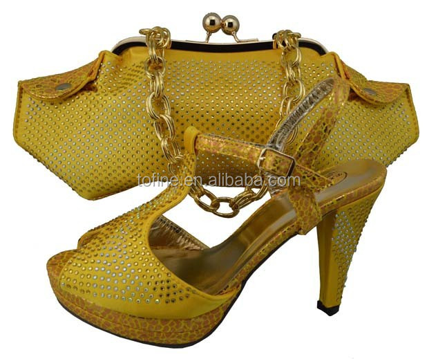 2015 wholesale high quality fashion yellow high heel shoe and and matching bags