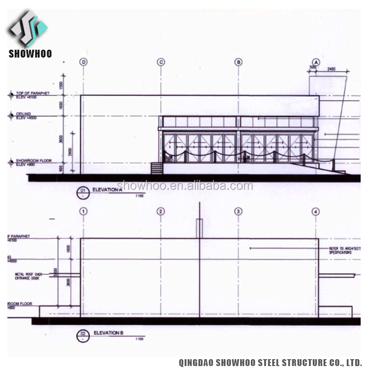 Design Prefabricated Light Weight Steel Structure Glass 4s Car Shop Showroom