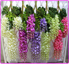 Custom Cheap Silk Floral Decor Hanging Artificial Wisteria Vines for Wedding Decoration