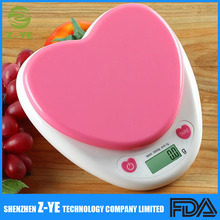 Heart Shape Pink Digital Multifunction Kitchen and Food Scale, 0.1g-3kg Capacity for Food Weighing Precisely