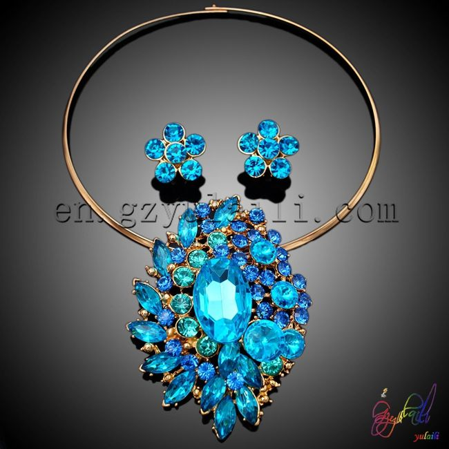 Necklace Earrings set / guangzhou jewelry/ yulaili fashion jewellery 18k