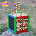 Wholesale cheap toy children multi-function wooden bead maze cube W11B060