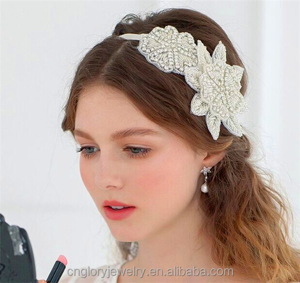 Fashion decorative handmade princess bridal beaded headband floral crystal rhinestone lace wedding hair band