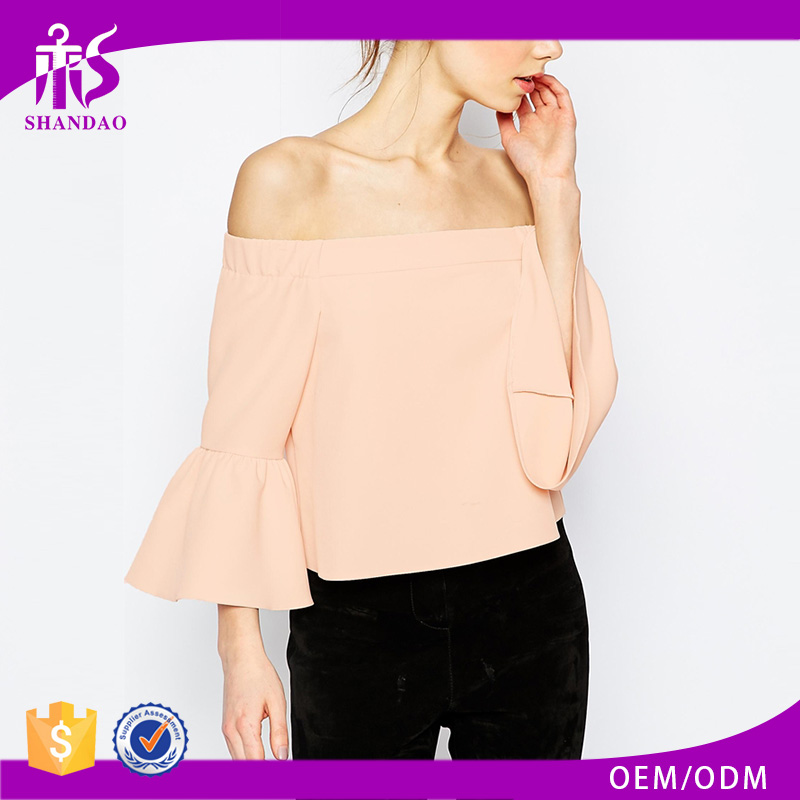 2016 Guangzhou Shandao Summer New Elegant Design Casual 3/4 Flare Sleeve Off Shoulder Pink Chiffon Girls Party Wear Tops
