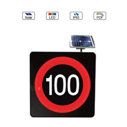 Solar Powered(Charging) Waterproof IP65 Traffic LED & Optical Fiber Sign Light (Velocity 100Km Limit Sign)