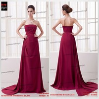 CH1847 Surmount Newest Simple Design Strapless A Line Long Purplish Red Prom Dresses 2016