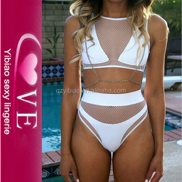 cheap elegant naked sexy girl bathing suit mesh two piece transparent high waist white bikini