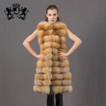 2017 new design beige long fur gilet of stitching for winter
