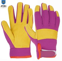 Purple Golden Yellow Full Grain Mechanic Construction Yard Garden Women's Pigskin Work Gloves Leather