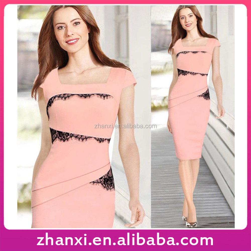 Wholesale summer female package hip lace latest formal patterns design office dress fashion