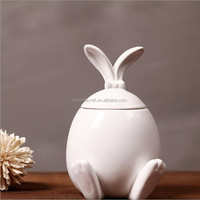 Ceramic creative Cute white rabbit container cookie jar with long ears