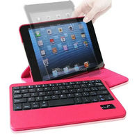 For iPad Mini Red Wireless Bluetooth Keyboard PU Leather Stand Case Cover