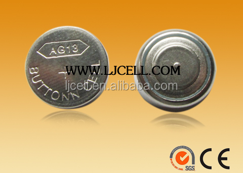 AG13 LR44 Alkaline Button Cell battery LR1154 CE,SGS certified 0% Pb Hg LJCELL Memory back up
