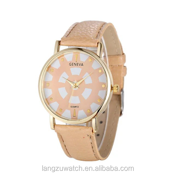 PU strap and alloy case nice looking girl watch hot sell in Europe and America