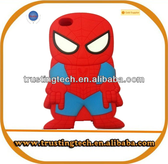 Promotional Cartoon rubber 3D spiderman case for iphone