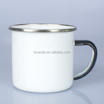 Private custom logo printing enamel promotional mug with personalized hand painted handle